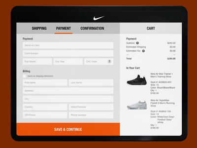 Nike Product Checkout Concept