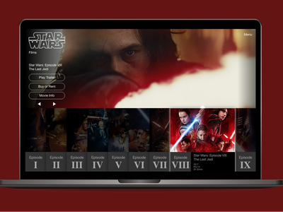 Star Wars Film Page Redesign Concept prototyping process design process adobe xd prototyping prototype product design user experience design user experience ux design ux interaction design user interface design user interface ui design ui web design website design website star wars