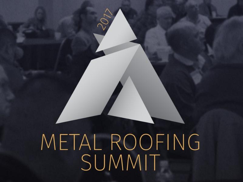Metal Roofing Summit Logo geometry geometric branding identity abstract mountain purple yellow summit logo event