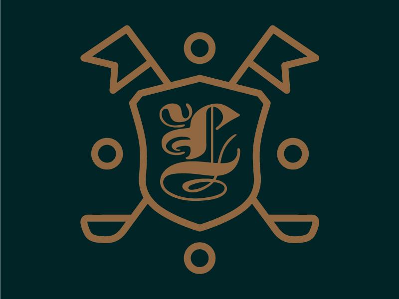 The Links Agency Logo branding gold green icon badge logo golf