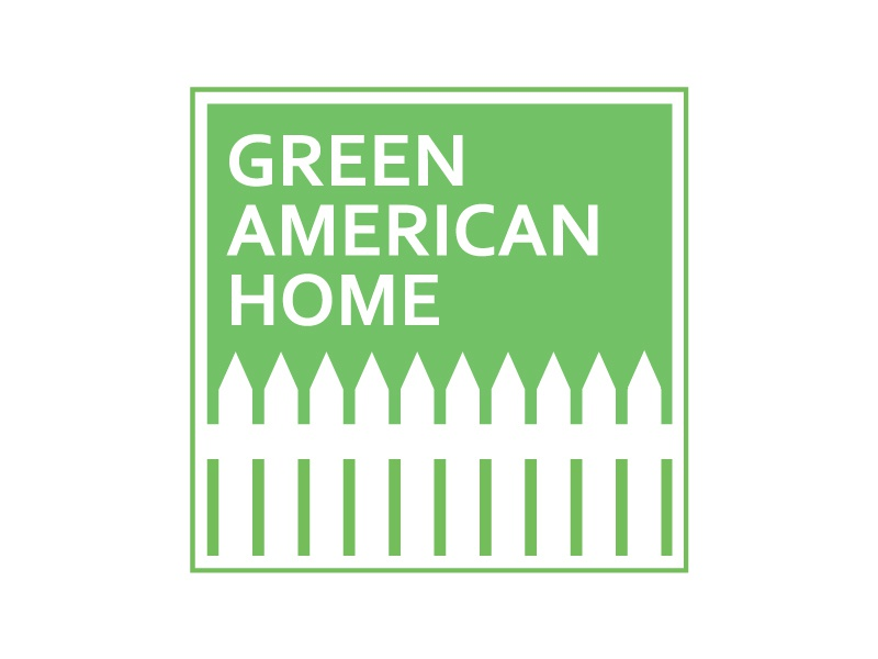 Green American Home Logo Design environment eco building home logo american green