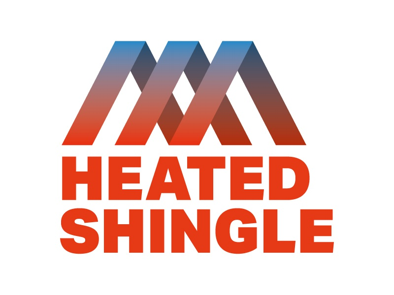 Heated Shingle Logo heated blue red logo roofing product