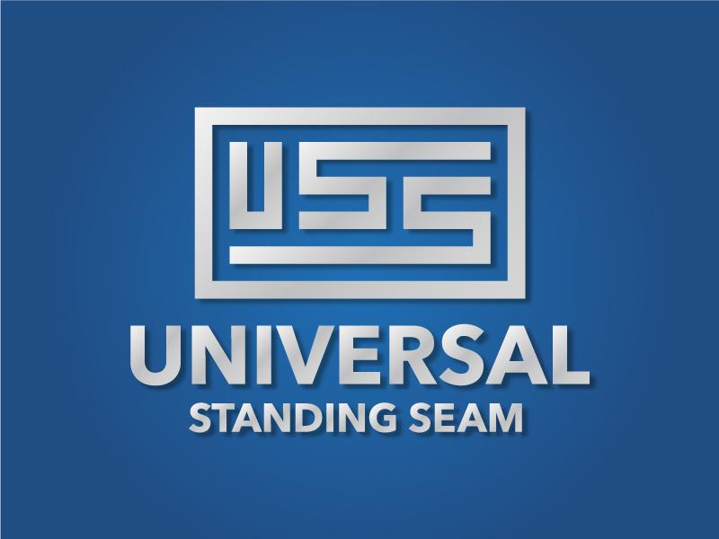 Universal Standing Seam Logo uss flag universal design identity roofing product branding logo