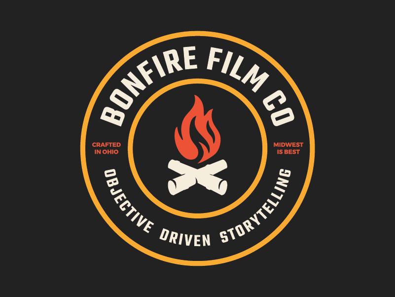 Bonfire Film Co. Logo Redesign badge black orange yello campire midwest ohio production video bonfire branding logo fire
