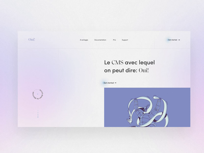 Oui! canvas swiss concept landing yes oui metaball blur headless cms ui