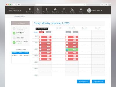 Data room interface web ui design webdesign calendar meeting