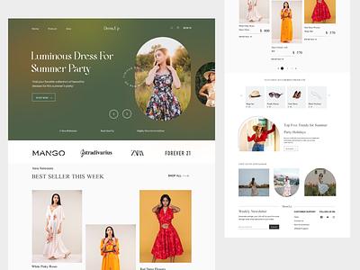 Fashion Dress Landing Page nft fashionapp fashionweb illustration appledesign uidesign