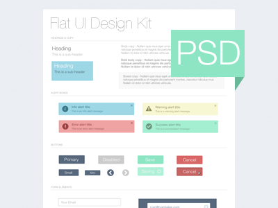 Flat UI Kit - Freebie PSD psd ui freebie flat button alert form ui kit