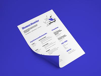 Thomas Bouvier - Resume - 2021 design clean resume minimal branding illustration