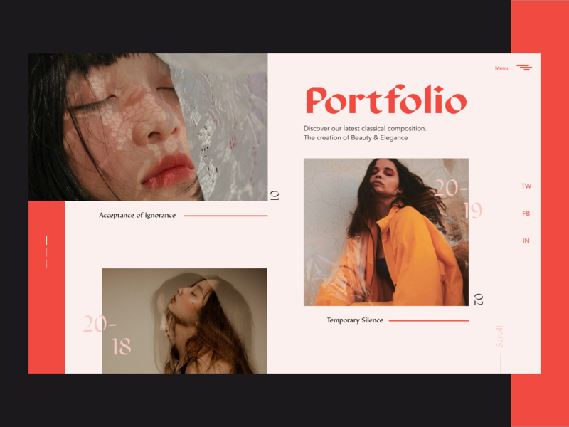 Photographer - Portfolio Exploration brand fashion brutalism photo concept typhography photography photographer portofolio design editorial design