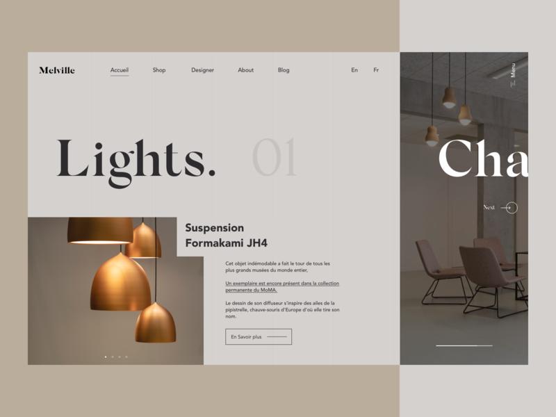 Interior Design - Landing Page Exploration minimal typography simple interior equipment decoration uidesign color inspiration interface minimalism decor interior design