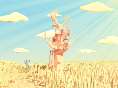 Low Poly Grain Field render 3d tree house clouds blender grain art tree low poly