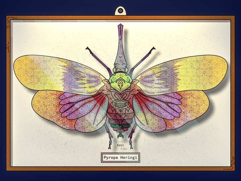 Pyrops Heringi Edit edit box wings nature bug animal insect psychedelic trippy illustration sketch art