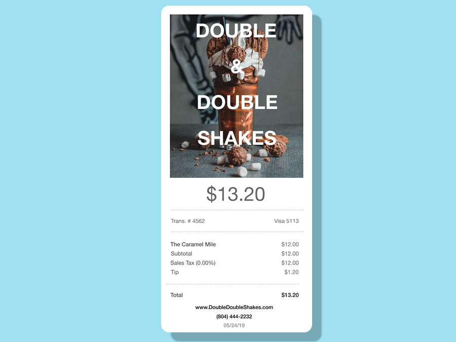 Email Receipt for a Shake shop mobile simple flat helvetica fun dailyui email receipt brand app lettering identity minimal clean branding typography ux color ui design