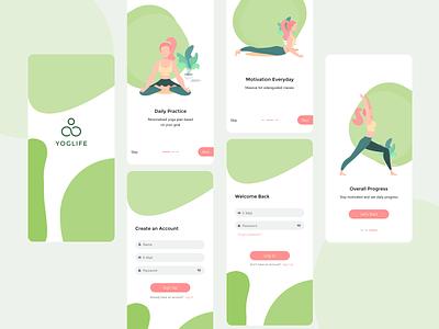 Yoga app onboarding illustraion login splash onboarding yoga design app