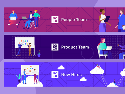 Team Banners for Internal Wiki illustration design app enterprise ui b2b visual design