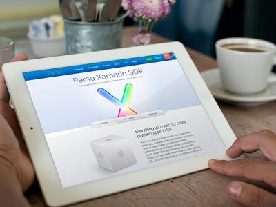 Landing page - Parse Xamarin parse landing page xamarin cube icon web rainbow tabs ui