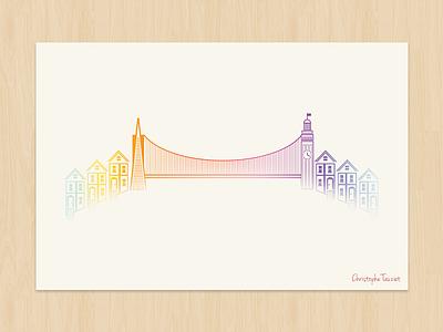 San Francisco Poster san francisco poster illustration art tribute golden gate bridge