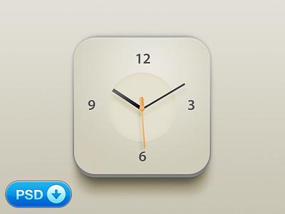 Clock iOS Icon [+PSD] iphone ios icon clock simple app psd freebie free