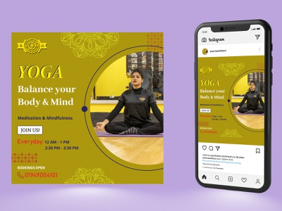 Social media poster ads banner yoga flyer yoga template yoga poster flyer design poster design template graphic design