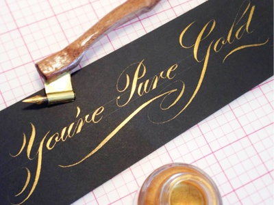 Gold ink lettering calligraphy gold ink