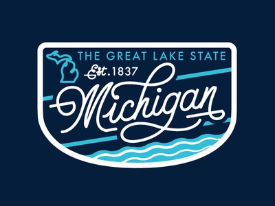 Michigan great lakes icon badge patch michigan