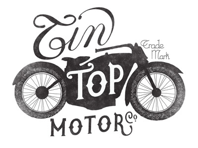 Tin Top lettering script typography type illustration motorcycle