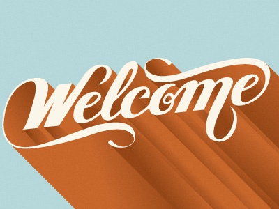 Welcome lettering script type letter typography 3d