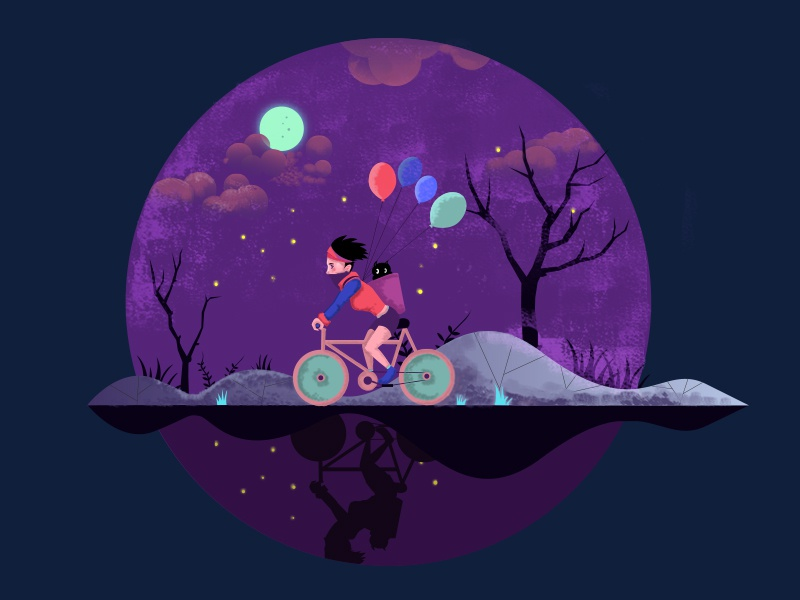 Ride a bicycle in a starry night illustrations