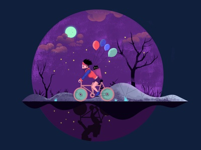 Ride a bicycle in a starry night