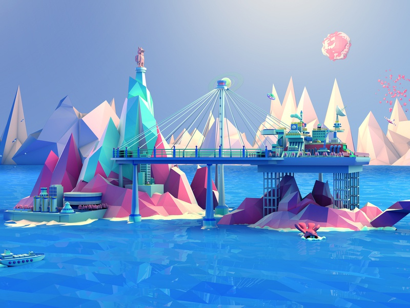 The traveler's Fortress design childrens illustration 3d
