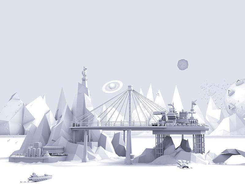 Traveller Station design illustration 3d