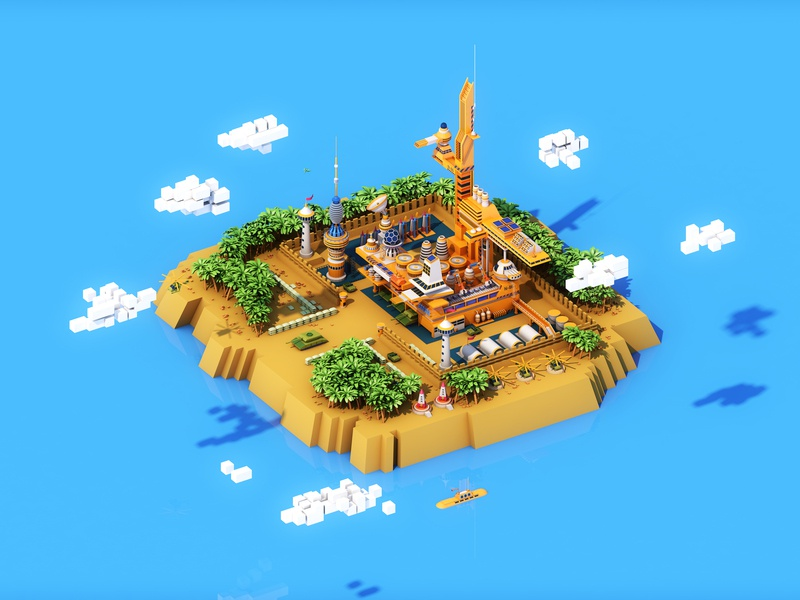 Fortress childrens 3d illustration