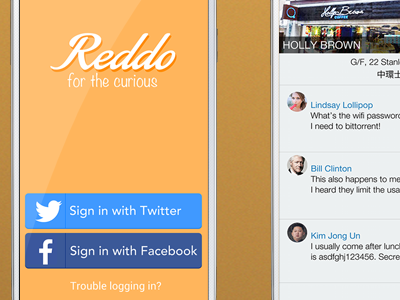 Reddo - Welcome screen, Question and Reply screen
