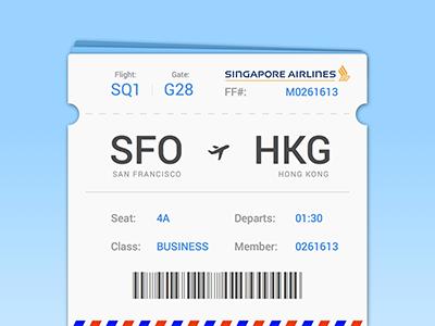 Singapore Airlines plane ticket UI