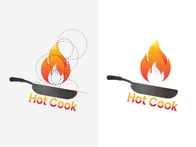 Hot Cook, Food Logo ui graphic design abstractalogo