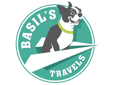 Basil's Travels logo logo boston terrier