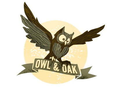 Owl & Oak Logo logo illustration owl wood grain texture