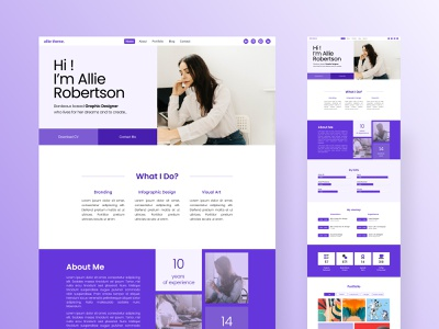 Allie | Creative Portfolio Website Theme designer website personal website resume template cv template cv resume light mode designer resume uikit ui ui8 portfolio website portfolio theme portfolio template portfolio site landing page figma designer portfolio allie adobexd