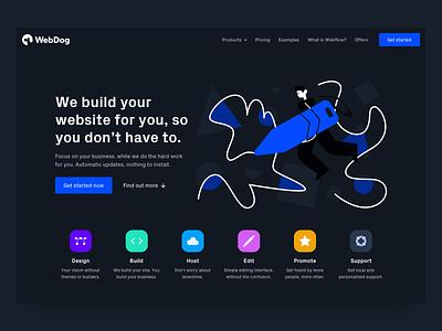 Marketing website dark ux app application interface platform website design web ui