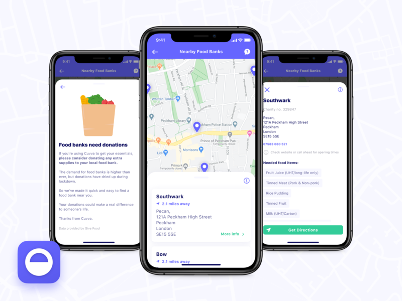 Food Bank Finder fintech product design product search ios iphone ui app insurance insurtech cuvva map finder food foodbank