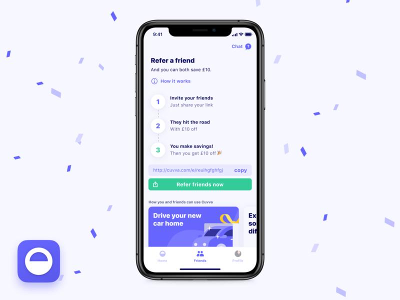 🎉 Refer a friend! insurance iphone illustration confetti ux interface design insurtech ui app ios app mobile ios referral refer