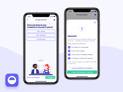 Driving Incidents 🚘💥🚙 fintech button ux ui declare form incidents mobile iphone ios app ios interface insurtech insurance design illustration app design app