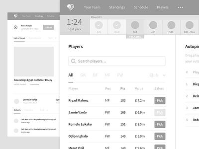 Fantasy Football UX design sketch wireframes wireframe app product platform web ui ux football fantasy