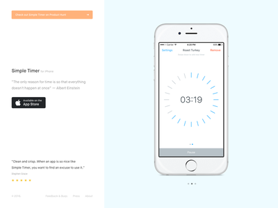 Simple Timer – Landing page application iphone website page web landing ios app timer