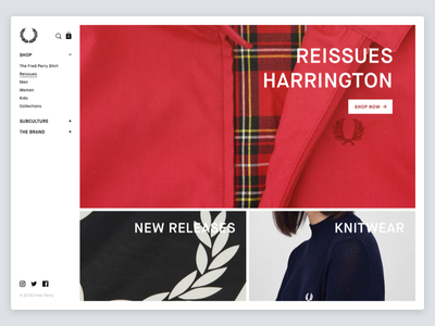 Fred Perry Redesign minimal menu button design retail fashion ecommerce catalogue store ui web website