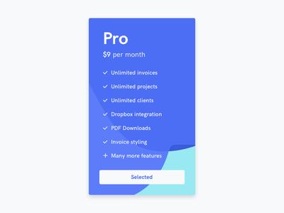 Pro card app platform website interface ui web plan button widget card pro