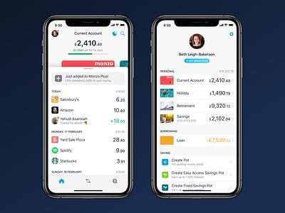 New Navigation banking accounts product design monzo bank app bank fintech app ui