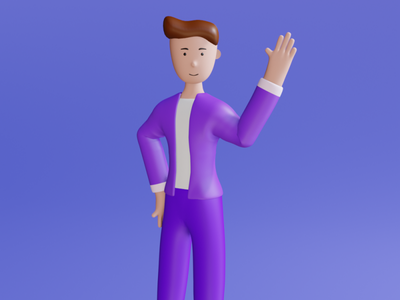 3D Stylish Character - Say Hello belajardesign belajardata belajardataid leftbrainillustrator illustration flatcharacter flatdesign 3d illustration 3d character 3d