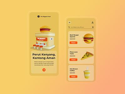 The Biggest Food Resto App userexperience userinterface uiuxdesign mobile mobiledesign resto food design uxdesign uidesign 3d illustration uiux design ux ui